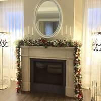 Рождественское оформление гостиной и столовой