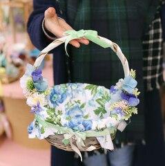 Корзинка пасхальная, украшенная цветами S/ Blue lagoon
