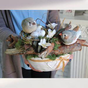 Пасхальная композиция с птичками