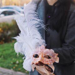 """Карнавальная маска с кружевом """"Коломбина"""""""