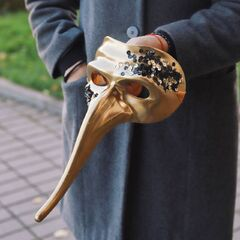 "Карнавальная маска с пайетками ""Скарамучча""/ Gold"