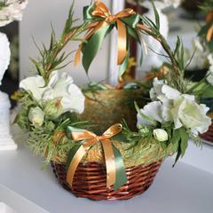 Пасхальная корзина с зеленым декором