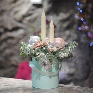 Рождественская композиция со свечами в коробочке