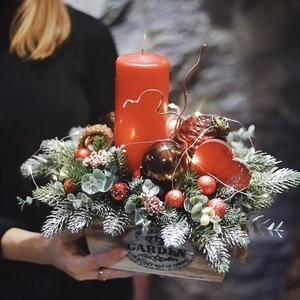 Рождественская композиция со свечой/ Happy holidays